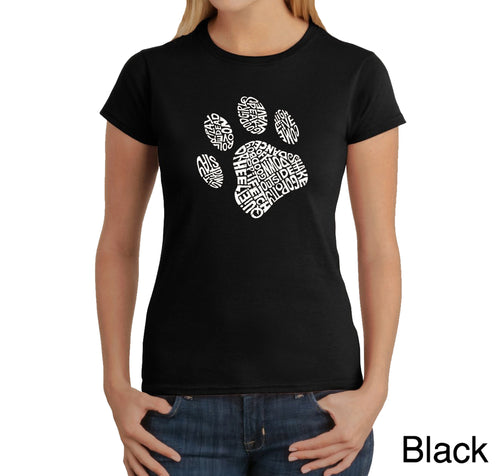 LA Pop Art Women's Word Art T-Shirt - Dog Paw