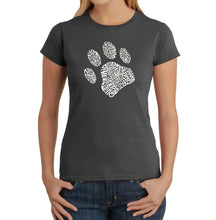 Load image into Gallery viewer, LA Pop Art Women's Word Art T-Shirt - Dog Paw