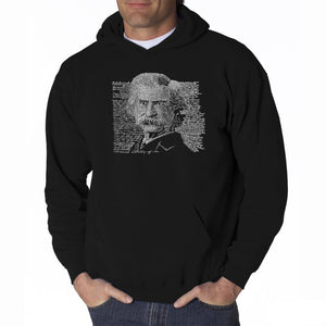LA Pop Art Men's Word Art Hooded Sweatshirt - Mark Twain