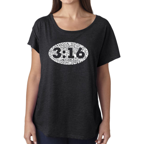 LA Pop Art Women's Dolman Word Art Shirt - John 3:16