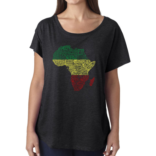 LA Pop Art Women's Dolman Cut Word Art Shirt - Countries in Africa