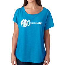 Load image into Gallery viewer, LA Pop Art Women's Dolman Word Art Shirt - All You Need Is Love