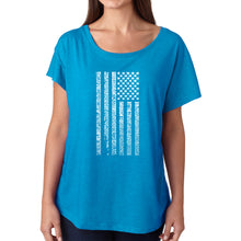 Load image into Gallery viewer, LA Pop Art Women's Dolman Word Art Shirt - National Anthem Flag