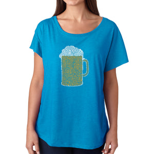 LA Pop Art Women's Dolman Word Art Shirt - Slang Terms for Being Wasted