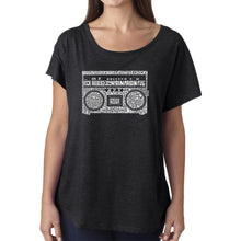 Load image into Gallery viewer, LA Pop Art Women's Dolman Word Art Shirt - Greatest Rap Hits of The 1980's