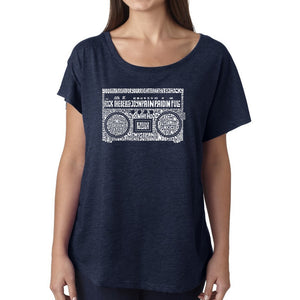 LA Pop Art Women's Dolman Word Art Shirt - Greatest Rap Hits of The 1980's