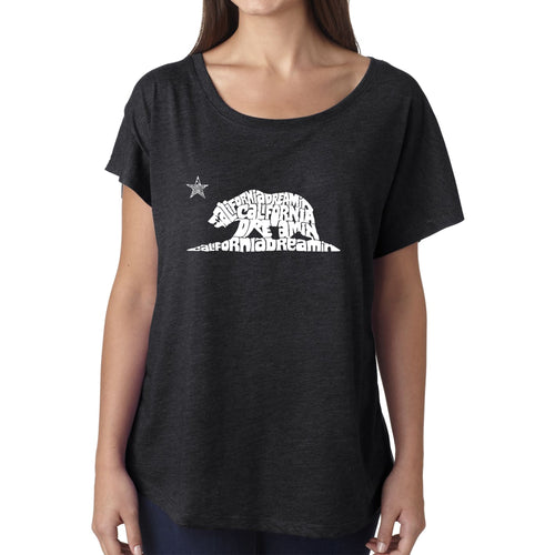 LA Pop Art Women's Dolman Cut Word Art Shirt - California Dreamin