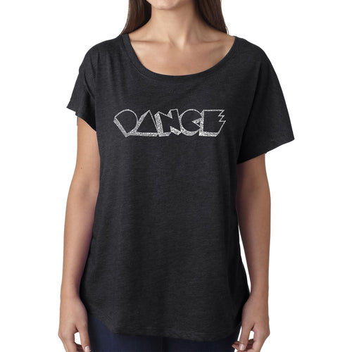 LA Pop Art Women's Dolman Word Art Shirt - DIFFERENT STYLES OF DANCE