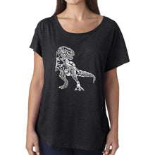Load image into Gallery viewer, LA Pop Art Women's Dolman Word Art Shirt - Dino Pics