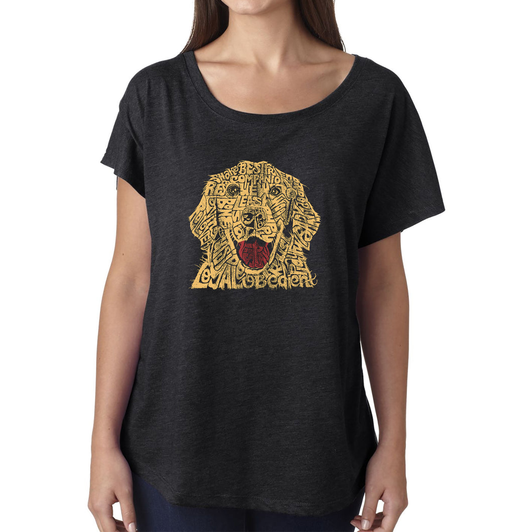 LA Pop Art Women's Dolman Word Art Shirt - Dog