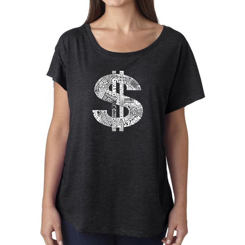 LA Pop Art Women's Dolman Word Art Shirt - Dollar Sign