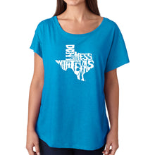 Load image into Gallery viewer, LA Pop Art Women's Dolman Word Art Shirt - DONT MESS WITH TEXAS