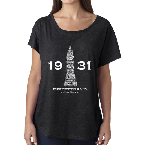 LA Pop Art Women's Dolman Cut Word Art Shirt - Empire State Building