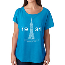 Load image into Gallery viewer, LA Pop Art Women's Dolman Cut Word Art Shirt - Empire State Building