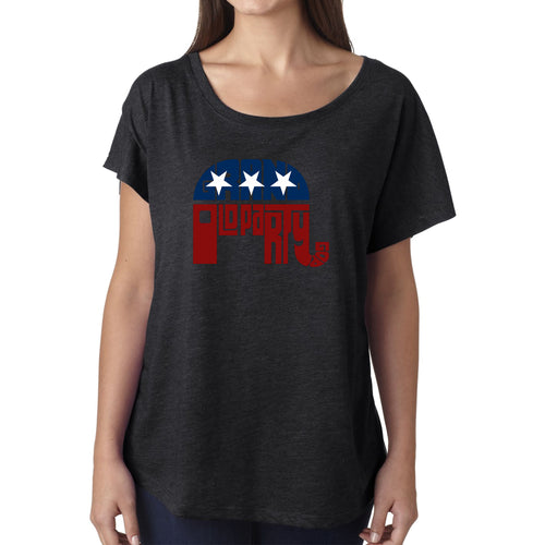LA Pop Art Women's Dolman Word Art Shirt - REPUBLICAN - GRAND OLD PARTY