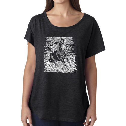 LA Pop Art Women's Dolman Word Art Shirt - POPULAR HORSE BREEDS