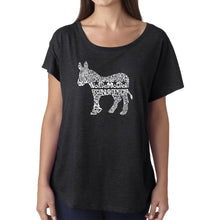 Load image into Gallery viewer, LA Pop Art Women's Dolman Word Art Shirt - I Vote Democrat