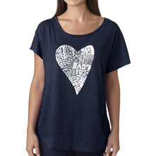Load image into Gallery viewer, LA Pop Art Women's Dolman Word Art Shirt - Lots of Love