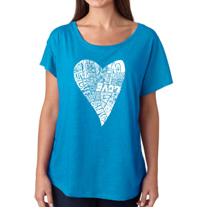 LA Pop Art Women's Dolman Word Art Shirt - Lots of Love