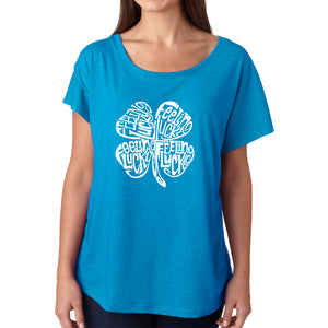 LA Pop Art Women's Dolman Word Art Shirt - Feeling Lucky