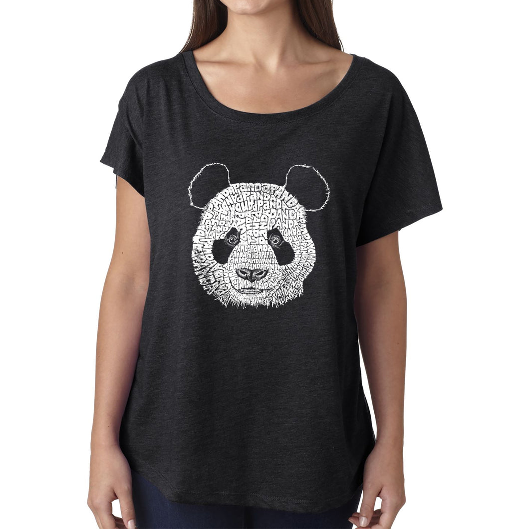 LA Pop Art Women's Dolman Word Art Shirt - Panda
