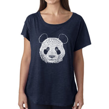 Load image into Gallery viewer, LA Pop Art Women's Dolman Word Art Shirt - Panda