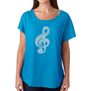 LA Pop Art Women's Dolman Word Art Shirt - Music Note
