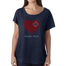 Load image into Gallery viewer, LA Pop Art Women's Dolman Cut Word Art Shirt - Nurses Rock