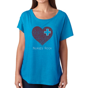 LA Pop Art Women's Dolman Cut Word Art Shirt - Nurses Rock