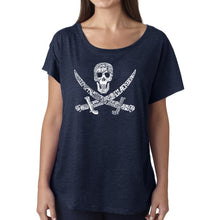 Load image into Gallery viewer, LA Pop Art Women's Dolman Word Art Shirt - PIRATE CAPTAINS, SHIPS AND IMAGERY