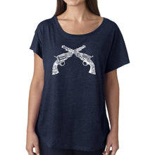Load image into Gallery viewer, LA Pop Art Women's Dolman Word Art Shirt - CROSSED PISTOLS