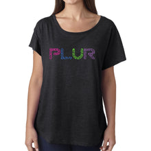 Load image into Gallery viewer, LA Pop Art Women's Dolman Word Art Shirt - PLUR