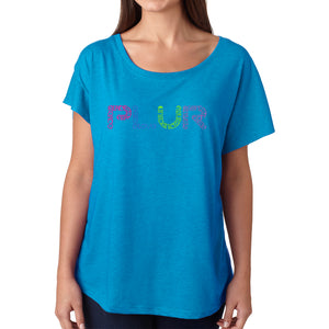 LA Pop Art Women's Dolman Word Art Shirt - PLUR