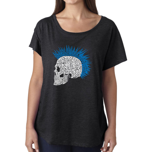 LA Pop Art Women's Dolman Cut Word Art Shirt - Punk Mohawk