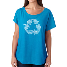Load image into Gallery viewer, LA Pop Art Women's Dolman Word Art Shirt - 86 RECYCLABLE PRODUCTS