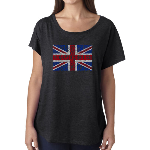 LA Pop Art Women's Dolman Cut Word Art Shirt - God Save The Queen