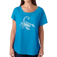 Load image into Gallery viewer, LA Pop Art Women's Dolman Word Art Shirt - Types of Scorpions