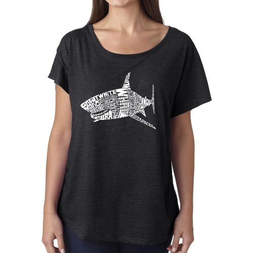 LA Pop Art Women's Dolman Word Art Shirt - SPECIES OF SHARK