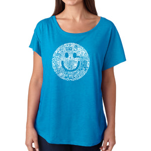 LA Pop Art Women's Dolman Word Art Shirt - SMILE IN DIFFERENT LANGUAGES