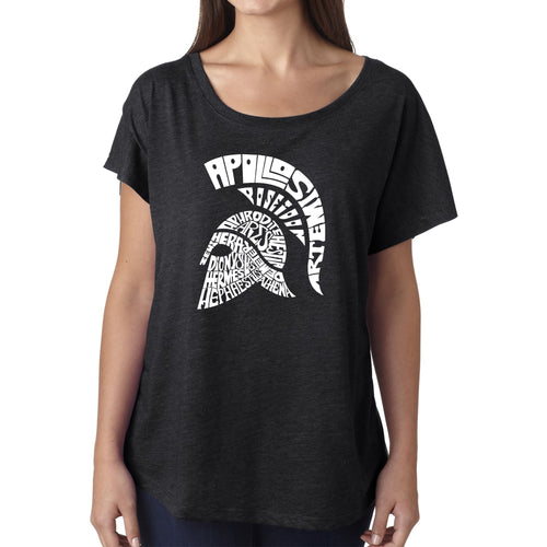 LA Pop Art Women's Dolman Word Art Shirt - SPARTAN