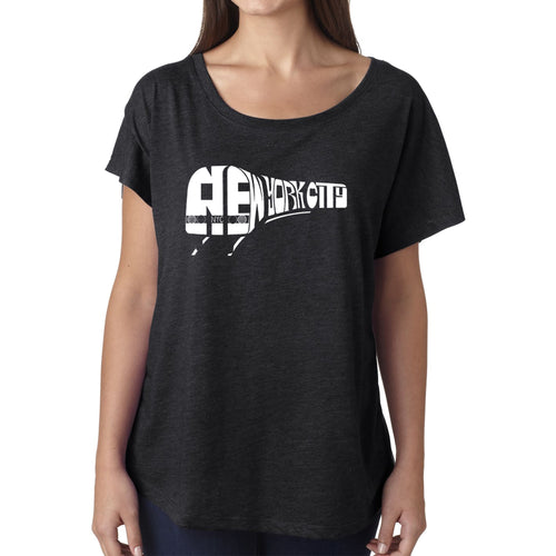 LA Pop Art Women's Dolman Word Art Shirt - NY SUBWAY