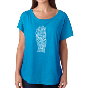 LA Pop Art Women's Dolman Word Art Shirt - TIGER