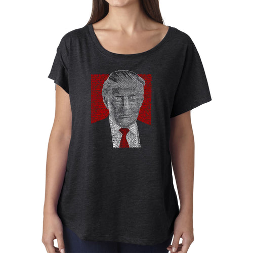 LA Pop Art Women's Dolman Word Art Shirt - TRUMP 2016 - Make America Great Again