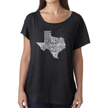 Load image into Gallery viewer, LA Pop Art Women's Dolman Word Art Shirt - The Great State of Texas