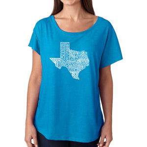 LA Pop Art Women's Dolman Word Art Shirt - The Great State of Texas