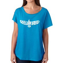 Load image into Gallery viewer, LA Pop Art Women's Dolman Word Art Shirt - Wild and Free Eagle