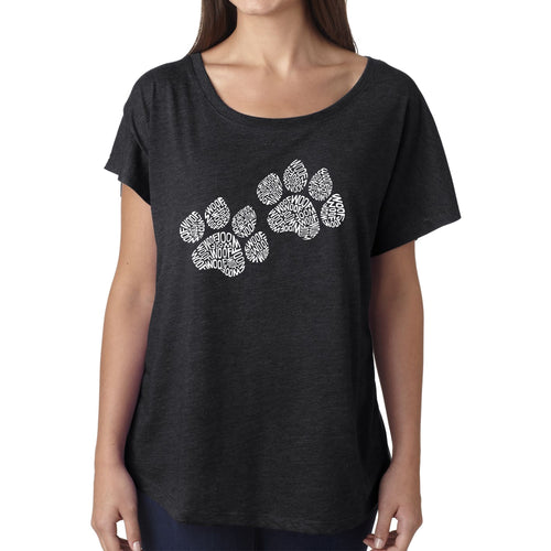 LA Pop Art Women's Dolman Word Art Shirt - Woof Paw Prints