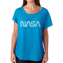 Load image into Gallery viewer, LA Pop Art Women's Dolman Word Art Shirt - Worm Nasa
