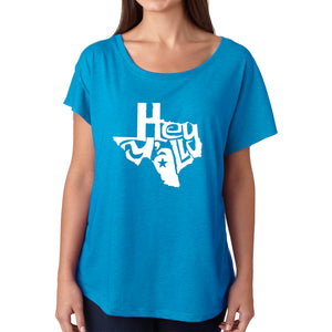 LA Pop Art Women's Dolman Word Art Shirt - Hey Yall