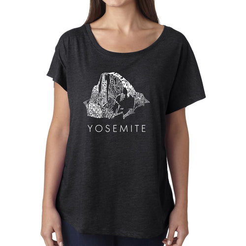 LA Pop Art Women's Dolman Word Art Shirt - Yosemite